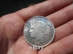 Splendide 5 francs cérès argent 1850 A (très rare état)
