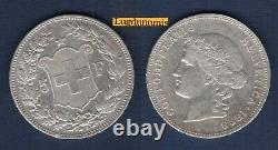 Suisse 5 Francs 1888 Argent TB TTB Swiss Helvetia TRES RARE R4 25000 Exemplaires