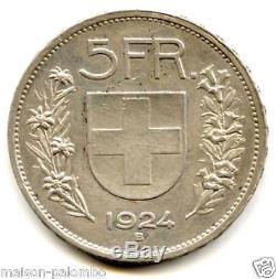 Suisse Republique 5 Francs Argent 1924 B Tres Rare