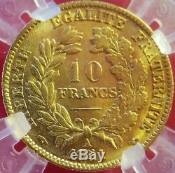 Superbe 10 Francs OR Cérès 1851 A SUP, Certifiée GENI AU55 TRES RARE