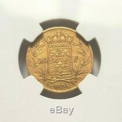 Superbe, très rare pièce de 20 francs 1828T variété 5 feuilles NGC AU53 Charles X