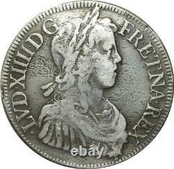 T1312 Tres Rare Ecu Louis XIV mèche longue 1654 K Bordeaux Argent Silver 4815ex
