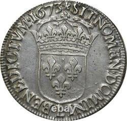 T1326 Tres Rare Ecu Louis XIV cravate 1673 L Bayonne Argent Silver