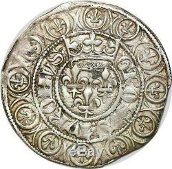 T2393 TRES RARE Charles VI Gros aux lis sous une Couronne 1413 Rouen