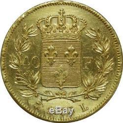 T2923 TRES RARE 40 Francs Or Gold Louis XVIII 1816 L Bayonne SUPERBE+++