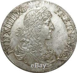 T5583 TRES RARE Ecu Louis XIV Juvénile 1664 9 Rennes Brillant SUP