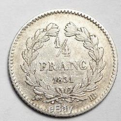 TRES RARE 1/4 DE FRANC LOUIS-PHILIPPE 1831BB STRASBOURG 3.629 ex