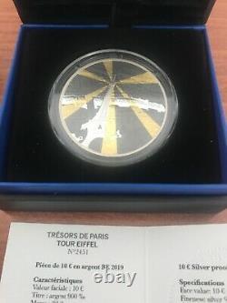 TRES RARE 10 euro TOUR EIFFEL Argent couleur BE France 2019 TRESORS DE PARIS