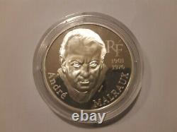 TRÈS RARE 100 Francs ANDRÉ MALRAUX 1997 Argent Belle Epreuve / gros module 22,2g