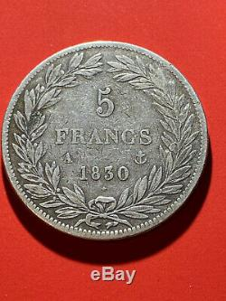TRES RARE 5 FRANCS LOUIS-PHILIPPE SANS LE I 1830A TRANCHE EN RELIEF 420 en TB