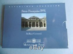 TRÈS RARE COFFRET 1991 MONNAIE de PARIS Série BU 9 pièces (Numismate)