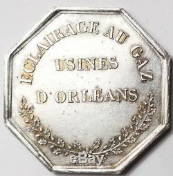 TRES RARE JETON ARGENT ECLAIRAGE AU GAZ USINES D'ORLEANS (poinçon Proue)