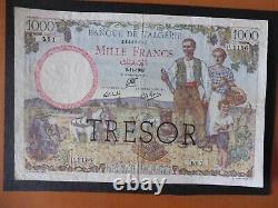 TRÈS RARE & JOLI BILLET 1000 FRS ALGÉRIE /TRÉSOR 06/11/1942 TTB / Variétée