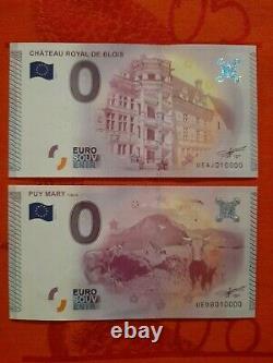 TRES RARE LOT de BILLETS TOURISTIQUES SOUVENIRS 0 EURO 11 X N°10000 de 2015