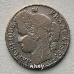 TRES RARE Monnaie 50 centimes Cérès 1873 K Bordeaux argent TB