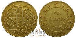 TRES RARE (Napoléonide) 20 Pesetas OR Barcelone 1812 Espagne