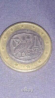 TRES RARE! PIÈCE GRECE DE 1 EURO -2002-AVEC S = SUOMI DANS lETOILE DU BAS