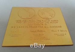 TRES RARE ancienne PLAQUE MONNAIE DE PARIS en OR 24K Astronaute Lune USA 1969
