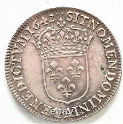 TRES RARE en cet état LOUIS XIII 1/4 QUART ECU 1642 A. Warin 6,84 gr