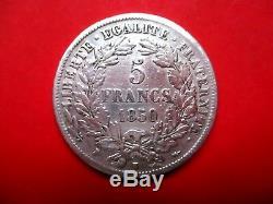 TRES RARE superbe écu de 5 Francs argent CERES 1850 K (Bordeaux) TTB+