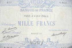 Très Joli Billet 1000 Francs Bleu &rose 04 Aout 1926 Alph. N. 2615 Rare