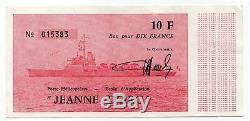 Très RARE. 10 Fr du Porte Hélicoptère Jeanne d'Arc. Rouge