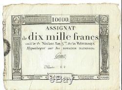 Très RARE ASSIGNAT de 10 000 Francs 2 superbes TIMBRES SECS, 18 niv. An 3