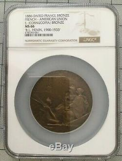 Très RARE. Par O. ROTY. Union Franco-Américaine 1886. LIBERTY STATUE. NGC MS66