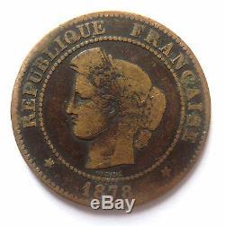 Très RARE monnaie 5 Centimes Cérès 1878 K Bordeaux