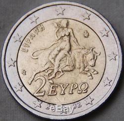 Tres RARE monnaie Piece de 2 euros Grèce grec 2002 S finlande TBE fautée