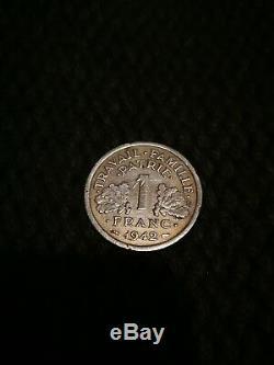 Très Rare, 1 franc 1942 Bazor Etat Français légère TTB