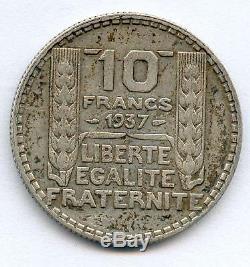 Tres Rare 10 Francs Turin Argent De 1937! La Plus Rare