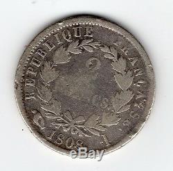 Tres Rare 2 Francs Napoleon Empereur Argent 1808 I (limoges) @ Petit Tirage