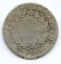 Tres Rare 2 Francs Napoleon Empereur Argent 1811 H (la Rochelle) Petit Tirage