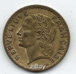 Tres Rare 5 Francs Lavrillier Cupro-alu 1947