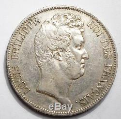 Tres Rare 5 Francs Louis-philippe Sans Le I 1830a Tranche En Relief