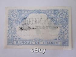 Tres Rare 5f Bleu Tampon Annulation Comptabilite Des Billets