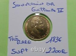 Très Rare Ancien Souverain Or Guillaume IV 1836 8 Gr. A Collectionner
