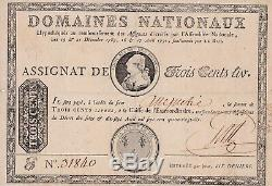 Tres Rare Assignat A Tete Royale De 300 Livres Avril 1790