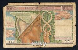 Tres Rare Billet De 1000 Francs Tresor Public De 1955 @ French Banknote @ Rare