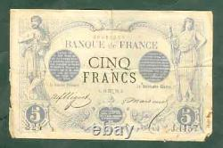 Très Rare Billet De 5 Francs Noir 1872 B+
