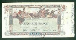 Très Rare Billet De 5000f Flameng Du 3 1 1918 Tb+