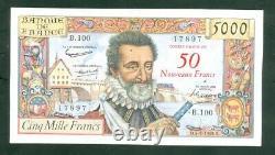 Très Rare Billet De 50nf Sur 5000f Henry IV Du 5 3 59 Ttb+