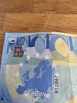 Très Rare Billet fauté 20 euros Surchargé bande Brillante Et Couleur Bleu