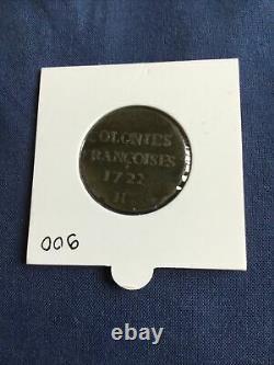 Tres Rare En Ttb Colonies Francaise Piece De 9 Deniers De 1722 H Louis XV