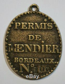 Tres Rare Et Ancienne Plaque Permis De Mendier Bordeaux, Petits Metiers