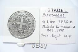 Très Rare Jolie Monnaie Argent Écu V. E. II 5 Lire Italie 1850 B Turin Tb+