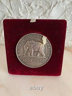 Très Rare Médaille Banque Du Congo Belge 1909-1959 Vermeil argent Silver Medal