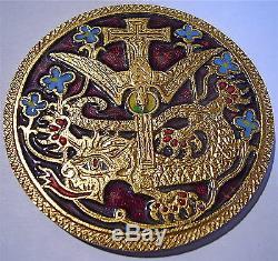 Tres Rare Medaille En Bronze Dore Et Emaille Religieuses