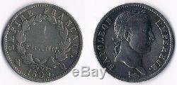 Tres Rare Monnaie 1 Franc Napoleon Empereur En Argent De 1809 Q @ Perpignan Top